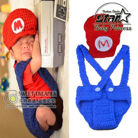 Baby Cosplay Crochet Newborn Baby Photo Props Super Mario Inspired Beanie Hat&Diaper Cover Set Knitted Boy Photo Costume