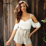 cold shoulder ruffles bow chiffon women jumpsuit romper V neck backless packets playsuit Sexy straps zipper overalls