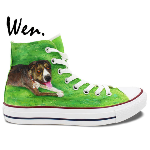 Green Hand Painted Shoes Design Pet Dog Lying Down On Grass Canvas Sneakers