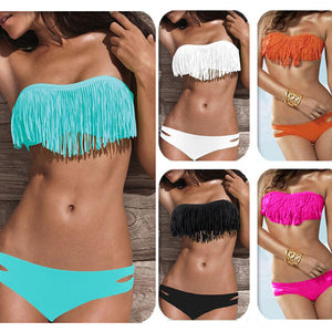 Sexy Bikini Tassel Swimsuit Low Waist Swimwear Women Bra Female Elastic Bikini Set Padded Beachwear