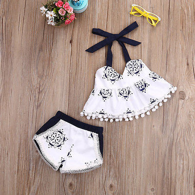 2pcs Cute Baby Kids Girls Floral Sleeveless Tops Vest+Shorts Bottoms Baby Clothes Set Sunsuit