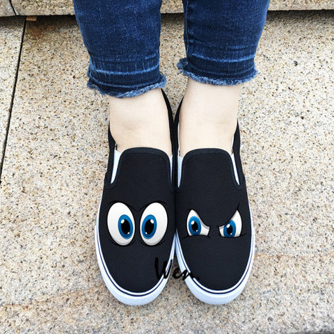 Wen Original Design Shoes Cartoon Eyes Pattern Slip On Canvas Sneakers White Black 2 Colors Women Men Presents Can Choose