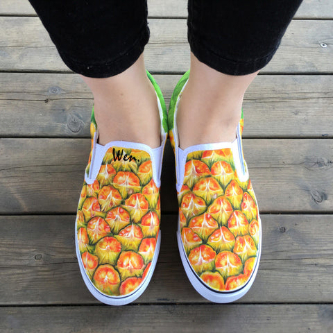 WEN Original Hand Painted Shoes Design Custom Fruit Series Pineapple Yellow Slip on Canvas Sneakers for Man Woman Unique Gifts