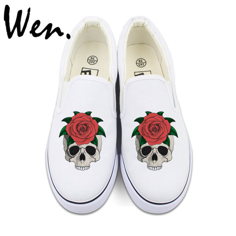 Wen Custom Men Women's Slip On Shoes Original Design Skull Red Rose Canvas Sneakers 2 Colors Can Choose