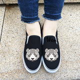 Wen Original Design Animal Panda Totem Slip On Canvas Shoes for Man Woman White Black Canvas Sneakers
