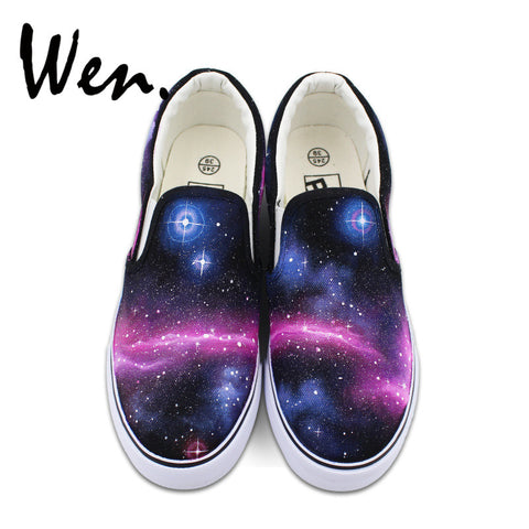 Wen Blue Purple Galaxy Space Original Design Custom Hand Painted Shoes Unisex Black Slip On Canvas Sneakers