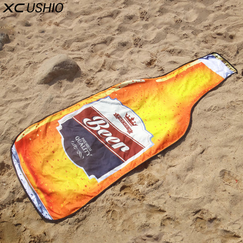 1 Piece New Style Microfiber 180*72 cm Creative Beer Bottle Beach Towel Bikini Cover Up Picnic Blanket Wall Tapestry