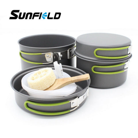 Sunfield Package Camp 2-3 People Outdoor Cooking Pot Picnic Pot Portable Sets of Pots