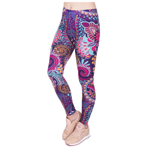 ZSIIBO DDK5 Brand Hot Sales Leggings Mandala Mint Print Fitness legging High Elasticity Leggins Legins Trouser Pants for women