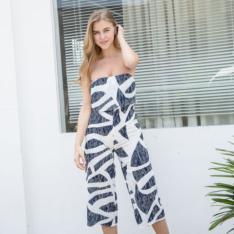 Strapless Floral Print Long Rompers Womens Jumpsuit Backless High Waist Loose Overalls 2017 Summer Beach Party Playsuit