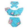 Image of Fashion Summer Baby Sets Blue Floral Printing Baby Sunsuit Outfit Tops+Bottoms+Scarf Headband 3pcs Newborn Photo Props