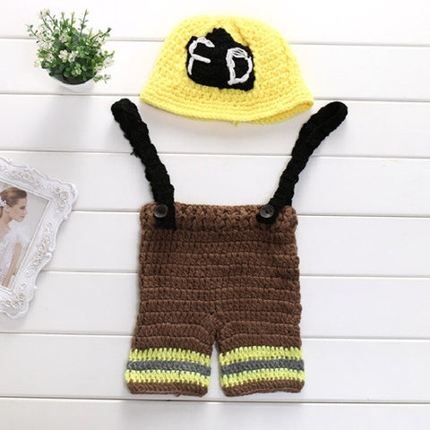 Cute Newborn Baby Boys and Girls Crochet Knit Costume Firefighter Hat Photography Prop Outfits 2 Color Available