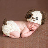 Baby Knitted Photography Prop  Newborn Hats Pants Puppy Dog Costume Baby Infant Dog Crochet Knit Cap Costume Prop