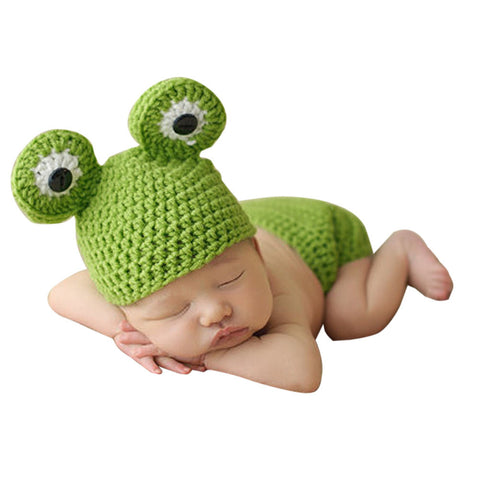 0-12M Newborn Baby Photo Props Infant Baby Crochet Frog Hats Knitted Tod Newborn Photography Props Infant Costume Outfit