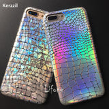 For iPhone 7 Shining Crocodile Texture Laser Colorful Soft Case For iPhone 7 6 6S Plus Snake PU Leather Back Capa Cover