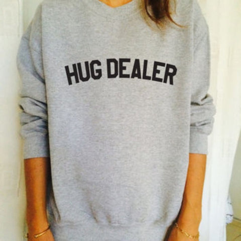HUG DEALER Funny Letter Simple Cool Oversized Jumper Sweatshirt Graphic Sweaters Women Men Fashion Street Style Casual Warm Tops