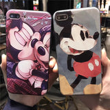 Mickey Minnie Relief Phone cases for iphone 7 7Plus Kiss cartoon silicon+ hard pc Case For iphone 6 6s 6plus back cover