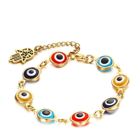 Colorful glass eyes Hamsa hand Bracelet gold-color stainless steel chain link bracelets for women fashion jewelry wholesale