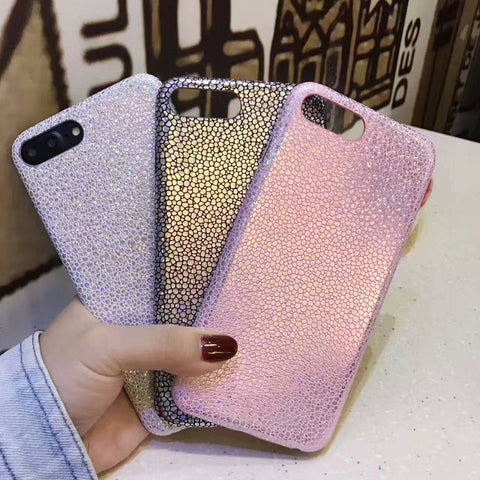 Shiny Laser Soft TPU Case For iPhone 7 6 6s Bling Glitter Snake Skin PU Leather Cover Back For iPhone 6 6s 7 Plus Laser Case