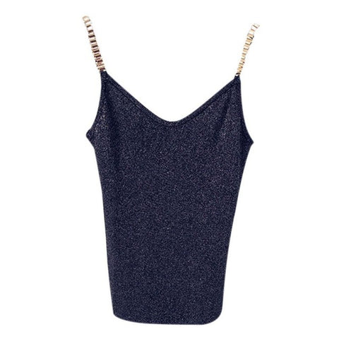 Women Sleeveless Tank Tops Sexy Female V-Neck Knitted Camisole Club Girls Spaghetti Metal Strap Camis Thin Shiny Glitter Bling D
