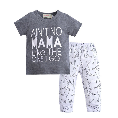 Baby Boy Clothes Short Sleeve Cotton T-shirt Tops + Geometric Pants Toddler 2PCS Outfit Kids Clothing Set