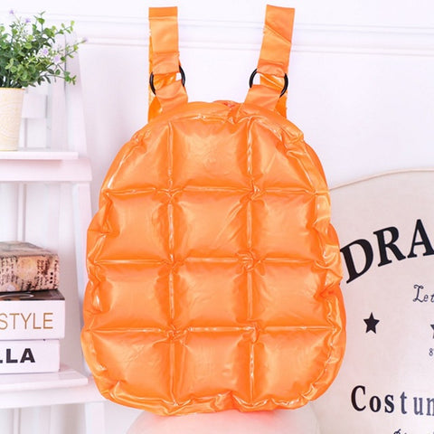 Fashion Inflated Women Jelly Backpack Summer PVC Waterproof Candy Beach Bag Girls Travel School Bag Diamond Lattice Shoulder Bag