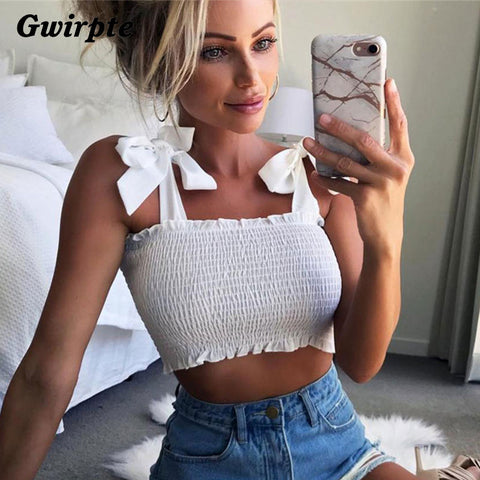 Gwirpte 2018 New Summer Autumn Tube Crop top Women Bow Tie Strap Ruched tank Top Lettuce Edge Elastic Camis 5 colors