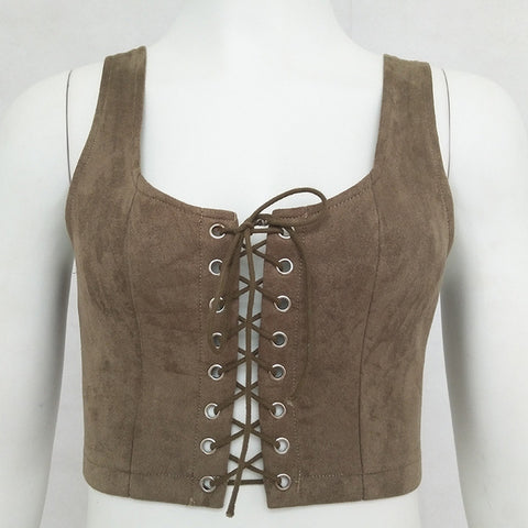 Sexy Suede Leather Crop Top Lace UP Tops For Woemen