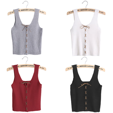 Summer Style Sexy Crop Top Cropped Vintage Tops Tank Bustier Tanks Sleeveless Vest Women's Shirt elasticity Camisole Cami U-neck