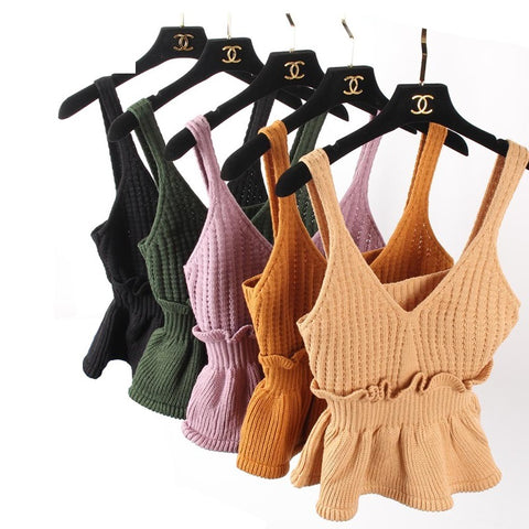 2018 Spring Female Sexy Knit Solid Color Sweaters Vest Harness Ruffles Short Style Sweater Summer Sleeveless Women Slim Blouse