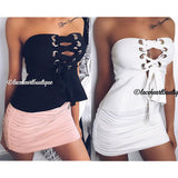 Fashion Women's Sexy Tanks Lace Up Bodycon Off Shoulder Tank Tops Vest Sexy Women Clothes Summer