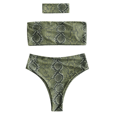 ZAFUL Women Bikini Set Sexy Snakeskin Print Bandeau Bikini With Choker Female Summer Swimsuit Swimwear Bathing Suit Biquinis