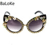 Image of Fashion Sunglasses Women Luxury Brand glasses Metal jewel with Rhinestone Decoration Cat Eyes Sunglasses Vintage Shades Oculos