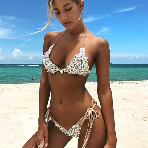2018 lace bikini Diamond Swimsuit Crystal women swimwear nude bikinis brazilian rhinestone beachwear push up bikini
