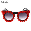 Image of 2017 Baroque Fashion rhinestone cat eye sunglasses women brand designer oversized sunglasses red flower ladies party Oculos