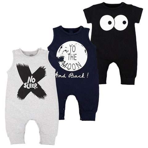 New Born Baby Clothes Summer Sleeveless Roupas Infantis Menino High Quality Cotton Fashion Cool Baby Boy Romper Black Grey 0-2T