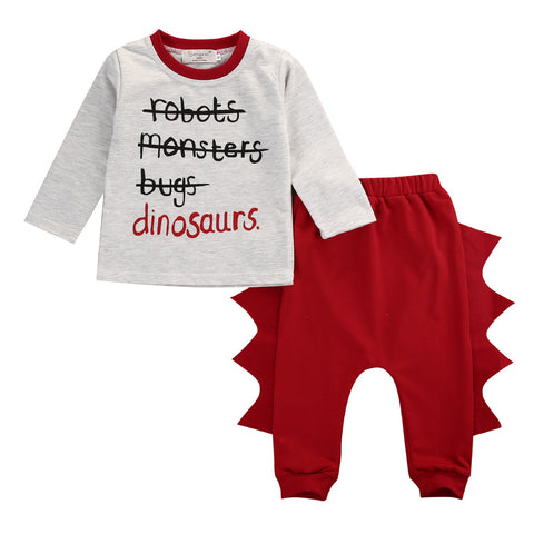 0-4Y Toddler Kids Clothes Fashion Baby Autumn Long Sleeve Tops 3D Pant 2pcs Dinosaur Clothing Set Outfit Bebek Giyim Unisex