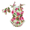 Image of new vintage floral cotton baby romper newborn baby girls pompom outfits infant newborn suit toddler kids clothing outwear