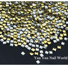 1000pcs/pack Square Gold Silver 3d Metal Nail Art Decorations Metallic