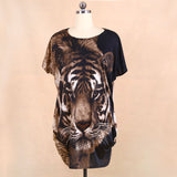 Tiger two sides print t-shirt, loose summer clothes harajuku shirt
