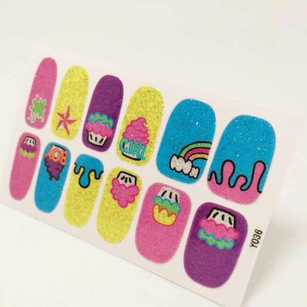 Nail Sticker Ice Cream Rainbow Design Nail Sticker Manicure Decor Tools Cover Nail Wraps Decals - Dottie D Shopping