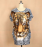 Tiger two sides print t-shirt, loose summer clothes harajuku shirt - Dottie D Shopping