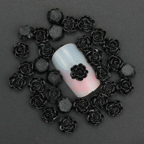 50pcs 3d nail art charm jewelry 6mm black resin flower decoration for nails stud diy glue nail art sticker PJ218 - Dottie D Shopping