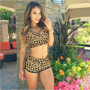New Fashion Women Swimwear Crop Tops High Waist Shorts Floral Bikini Set Beach Swimsuit S M L - Dottie D Shopping