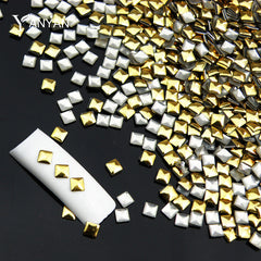 Image of 1000pcs/pack Square Gold Silver 3d Metal Nail Art Decorations Metallic
