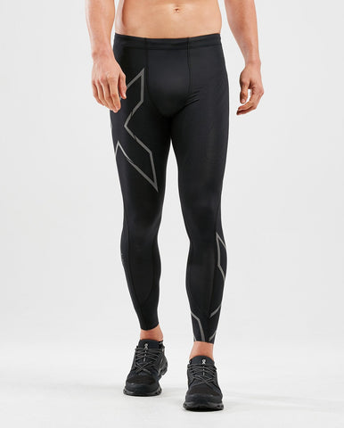 2XU Men's MCS RUN Compression Tights with Back Storage : MA5305B - Blk/Blk Reflective