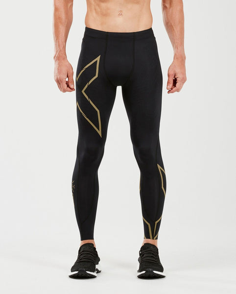 2XU Men's MCS RUN Compression Tights with Back Storage : MA5305B - Blk/Gold Reflective