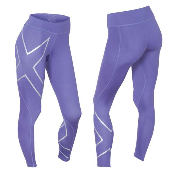 2XU Women's Mid-Rise Compression Tights - Imperial Purple Silver