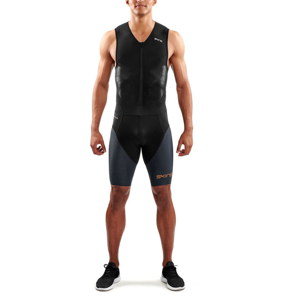 SKINS DNAmic Triathlon Mens Skinsuit With Front Zip - Black/Carbon