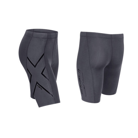 2XU Men's HYOPTIK Compression Shorts - Steel Black Reflective